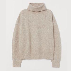 H&M Beige Knit Turtle Neck Wool Blend Sweater S